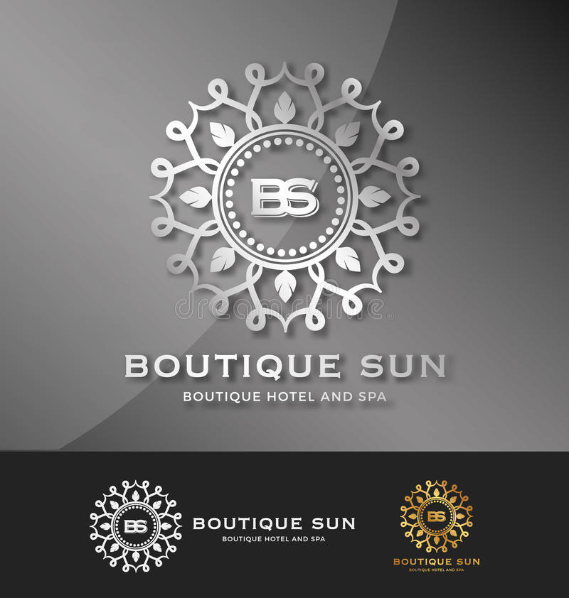 Boutique hotel and spa logo design vector illustration