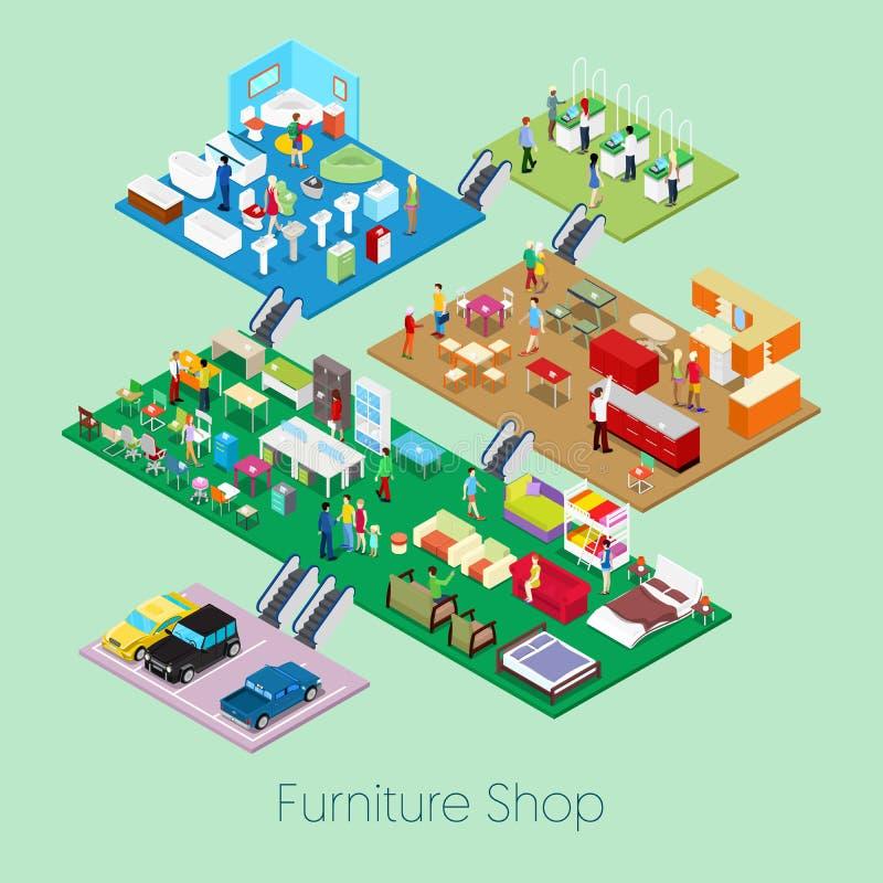 Boutique isométrique de meubles à l'intérieur avec des meubles de cuisine, de salle de bains et de salon illustration de vecteur