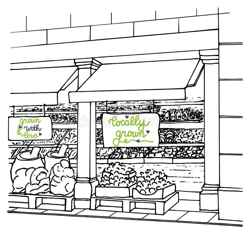 Boutique locale avec l'inscription et les fruits frais et les légumes cultivés sur place illustration de vecteur