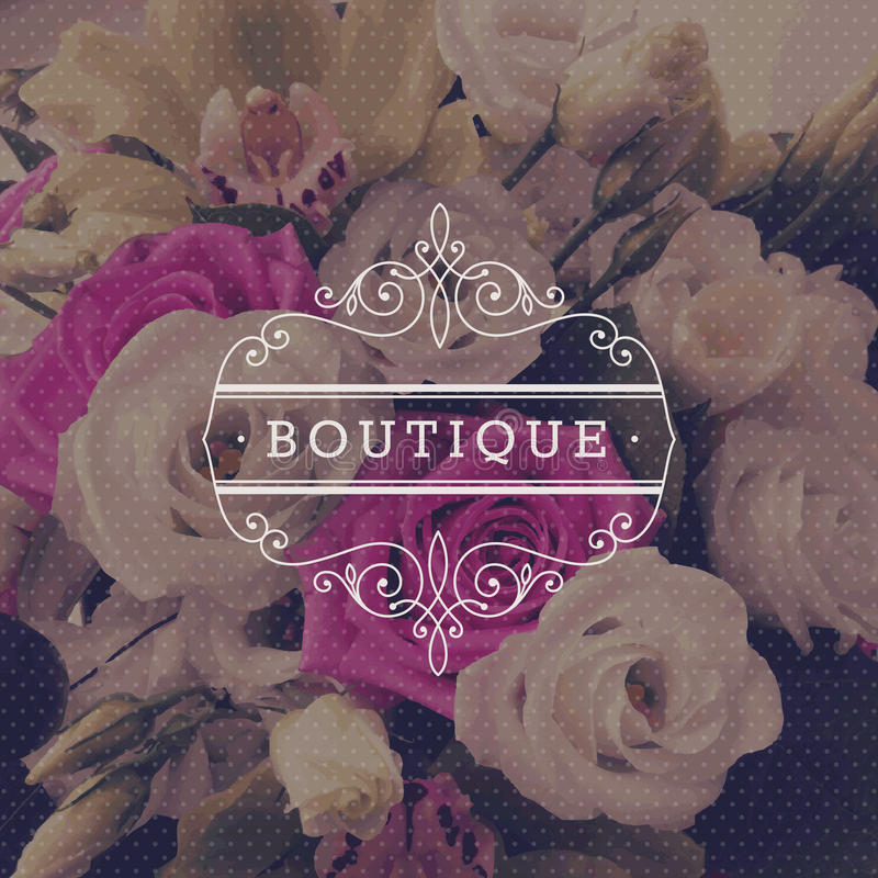 Boutique logo template. With flourishes calligraphic elegant ornament frame on a flowers background royalty free illustration