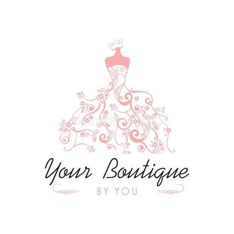 Boutique Logo Template Illustration Vector Design nuziale del vestito illustrazione vettoriale