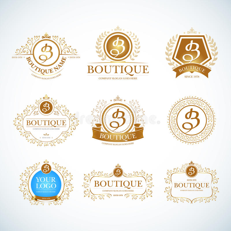 Boutique Luxury Vintage. Crests logo templates set. Boutique Luxury Vintage, Crests logo templates set. Business sign, identity for Restaurant. Royalty and royalty free illustration