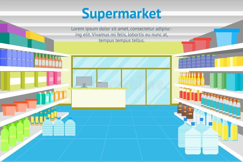 Boutique ou supermarché intérieure de bande dessinée avec l'affiche de carte de meubles Vecteur illustration libre de droits
