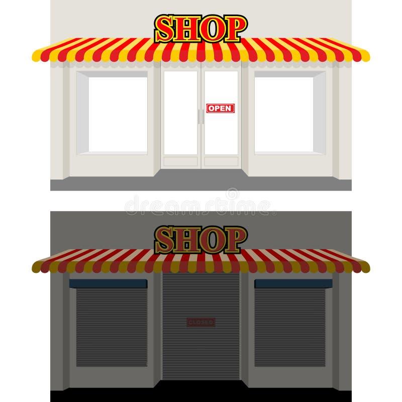 Boutique par jour et nuit Devanture de magasin au crépuscule Fenêtre de boutique dans Sun S illustration de vecteur