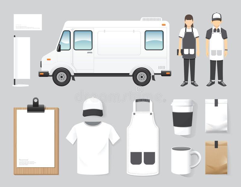 Boutique réglée de camion de nourriture de rue de conception de café de restaurant de vecteur, insecte, illustration de vecteur