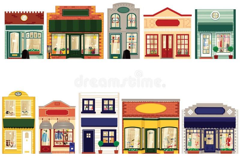 Boutique shoppar stock illustrationer