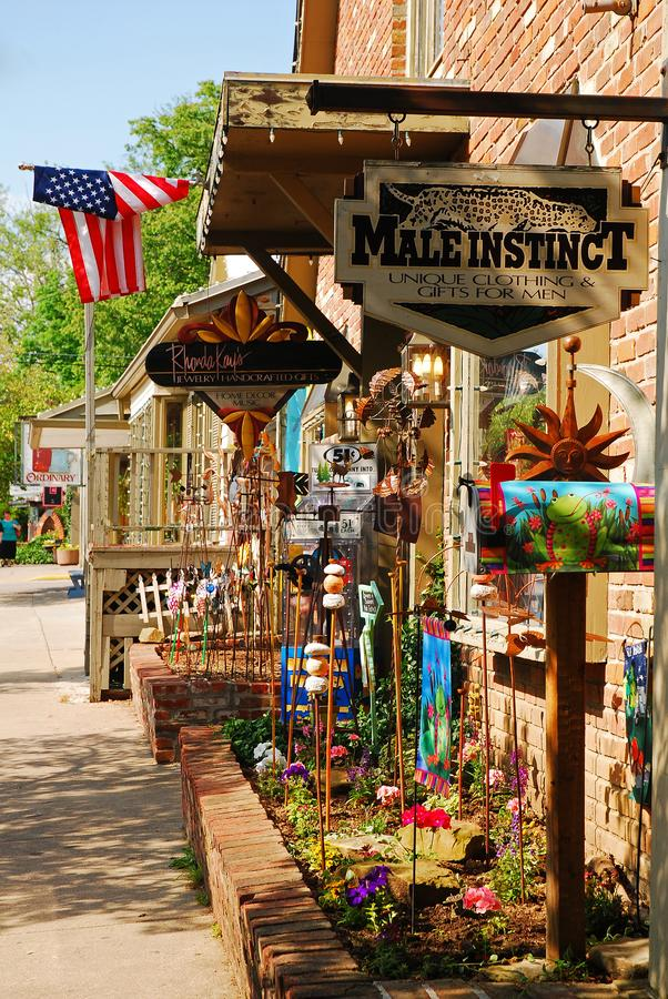 Downtown Nashville Indiana. Boutique Stores and small town charm populate downtown Nashville, Indiana stock image