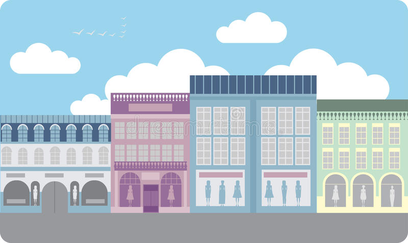 Boutique street. Street of the Luxury clothing stores royalty free illustration