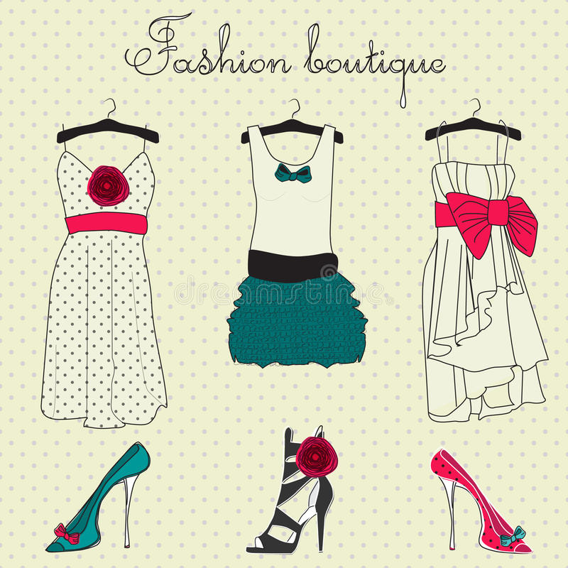 boutiquemodeset royaltyfri illustrationer