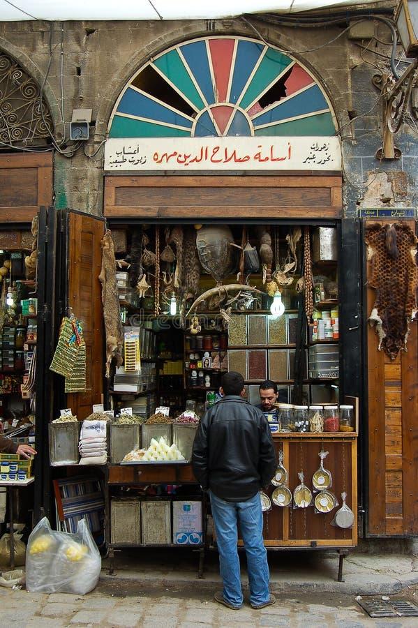Boutiques dans les bazars de Damas images libres de droits