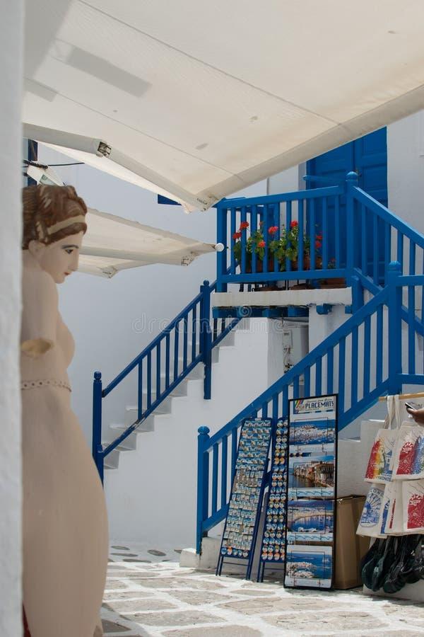 Boutiques de souvenirs sur Mykonos photographie stock libre de droits