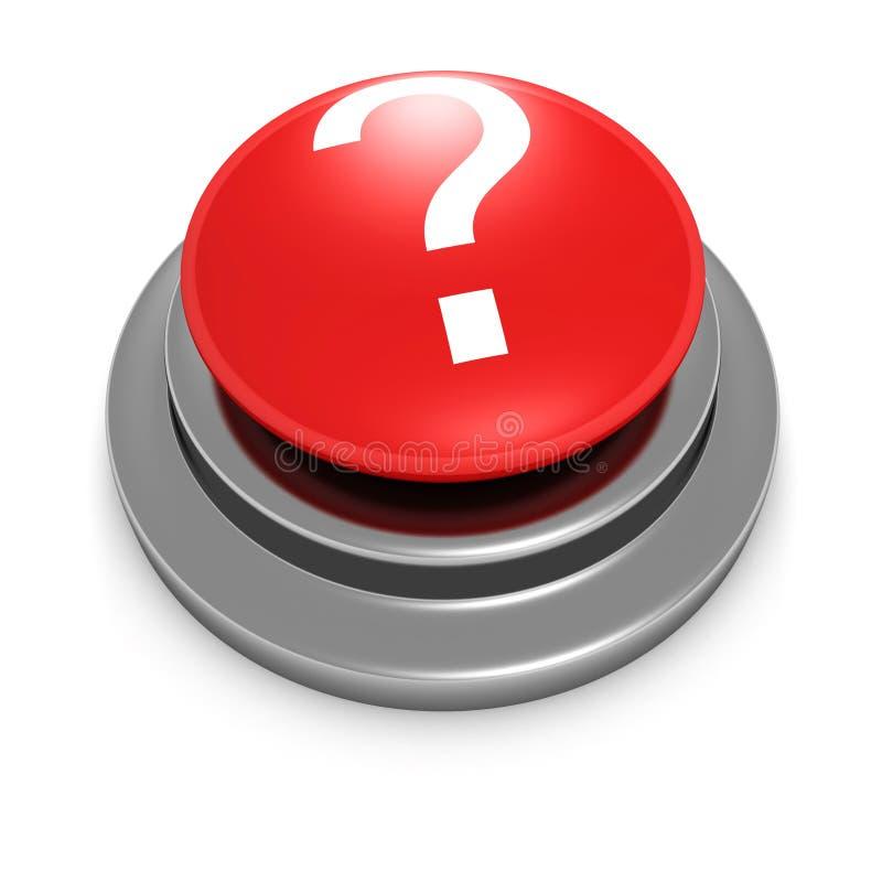 bouton 3d rouge avec le point d'interrogation illustration stock