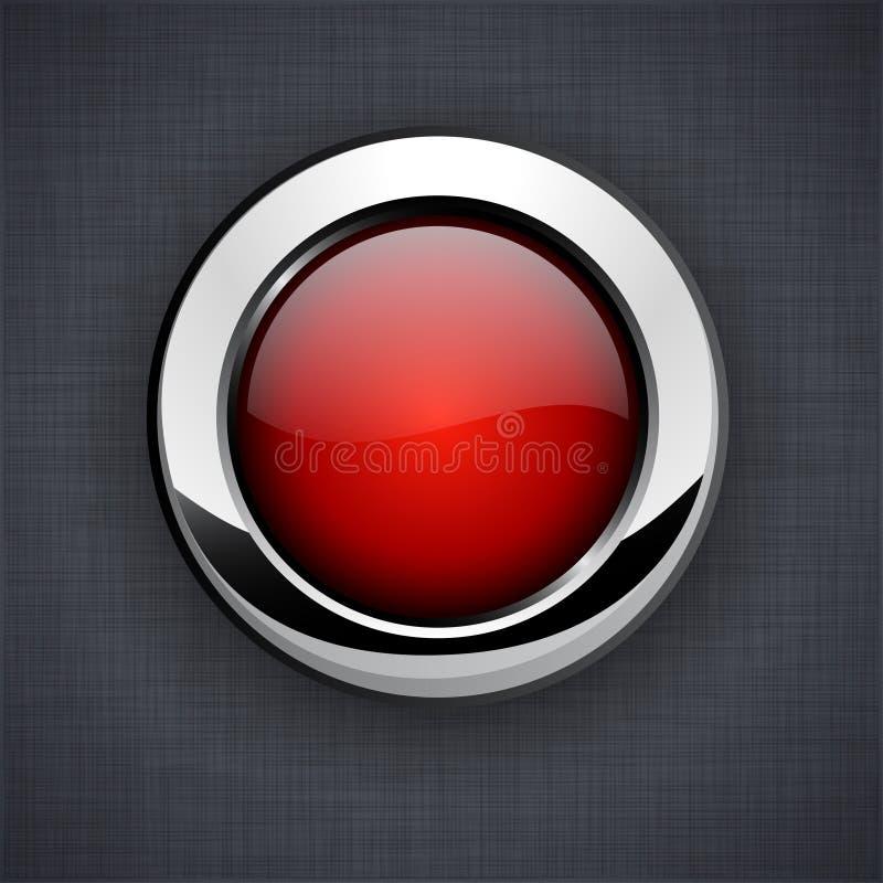Bouton 3d rouge lustré. illustration de vecteur