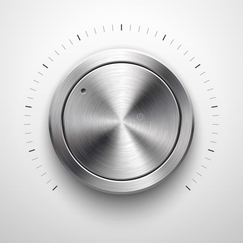 Bouton abstrait de volume de technologie avec la texture en métal illustration libre de droits