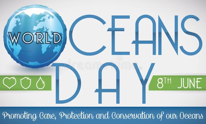 Bouton aqueux avec le globe favorisant des préceptes pour la célébration de jour d'océans, illustration de vecteur illustration de vecteur
