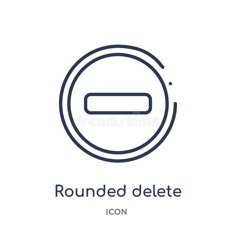 bouton arrondi de suppression avec l'icône négative de la collection d'ensemble d'interface utilisateurs Ligne mince bouton arron illustration stock