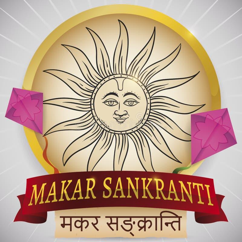 Bouton avec l'aspiration, les cerfs-volants et le ruban de Sun pour Makar Sankranti, illustration de vecteur illustration stock