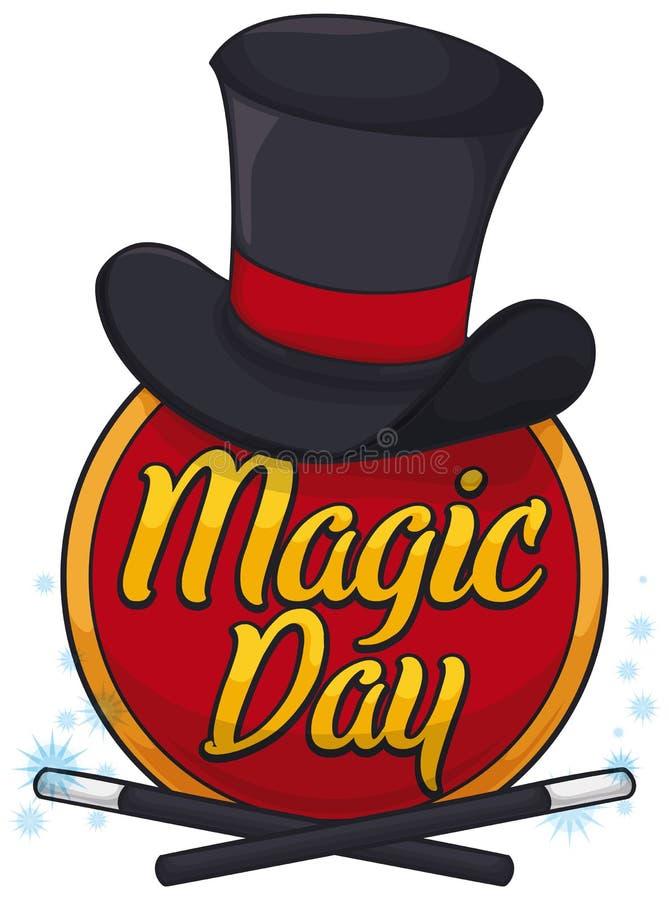 Bouton avec le chapeau supérieur et les baguettes magiques magiques pour le jour magique, illustration de vecteur illustration stock