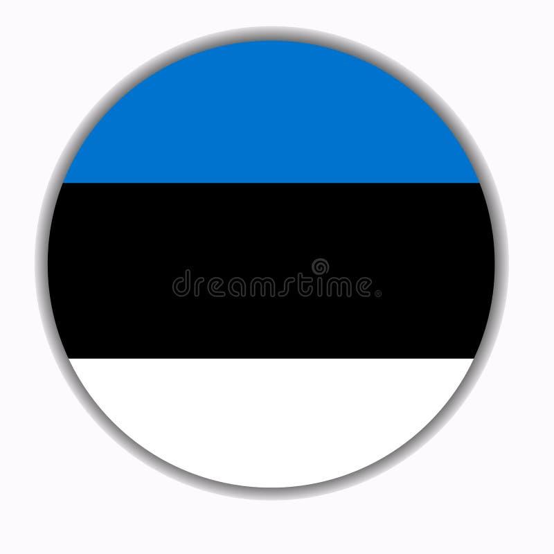 Bouton avec le drapeau de l'Estonie illustration stock