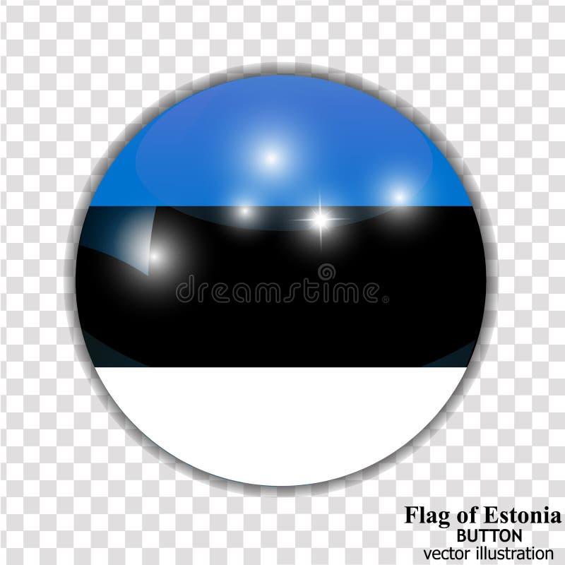 Bouton avec le drapeau de l'Estonie Vecteur illustration libre de droits