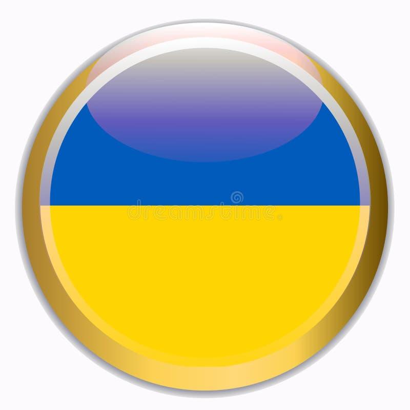 Bouton avec le drapeau de l'Ukraine illustration stock