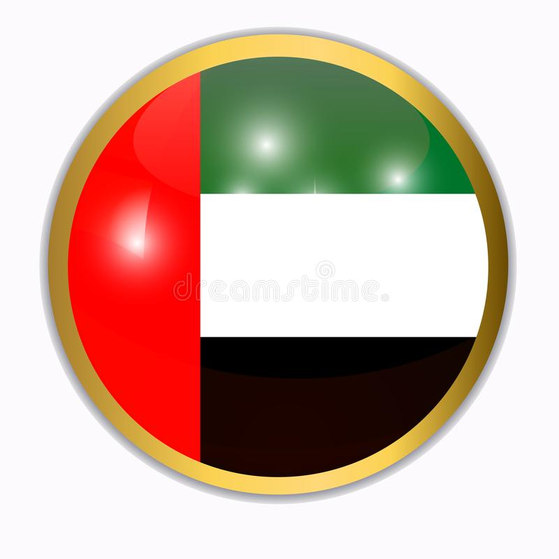 Bouton avec le drapeau des ?mirats arabes illustration stock