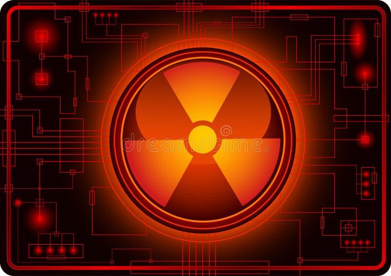 Bouton avec le signe nucléaire illustration libre de droits
