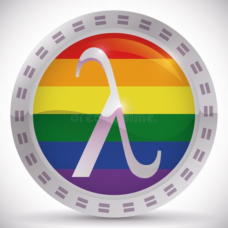 Bouton avec le symbole de lambda pour des juste d'égalité dans la fierté gaie, illustration de vecteur illustration stock