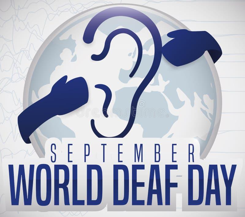Bouton avec symbole de la surdité et mains faisant la promotion de la Journée mondiale de la surdité, illustration vectorielle illustration stock