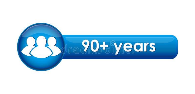 Bouton avec une limite d'âge des années 90+ et d'une icône illustration stock