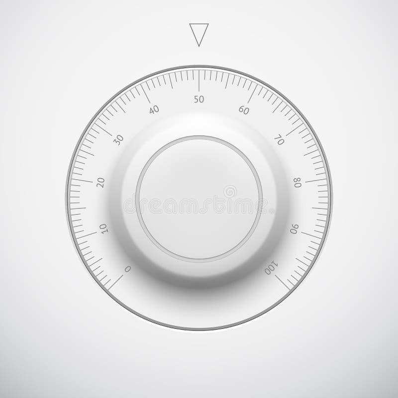 Bouton blanc de volume de technologie avec l'échelle illustration de vecteur