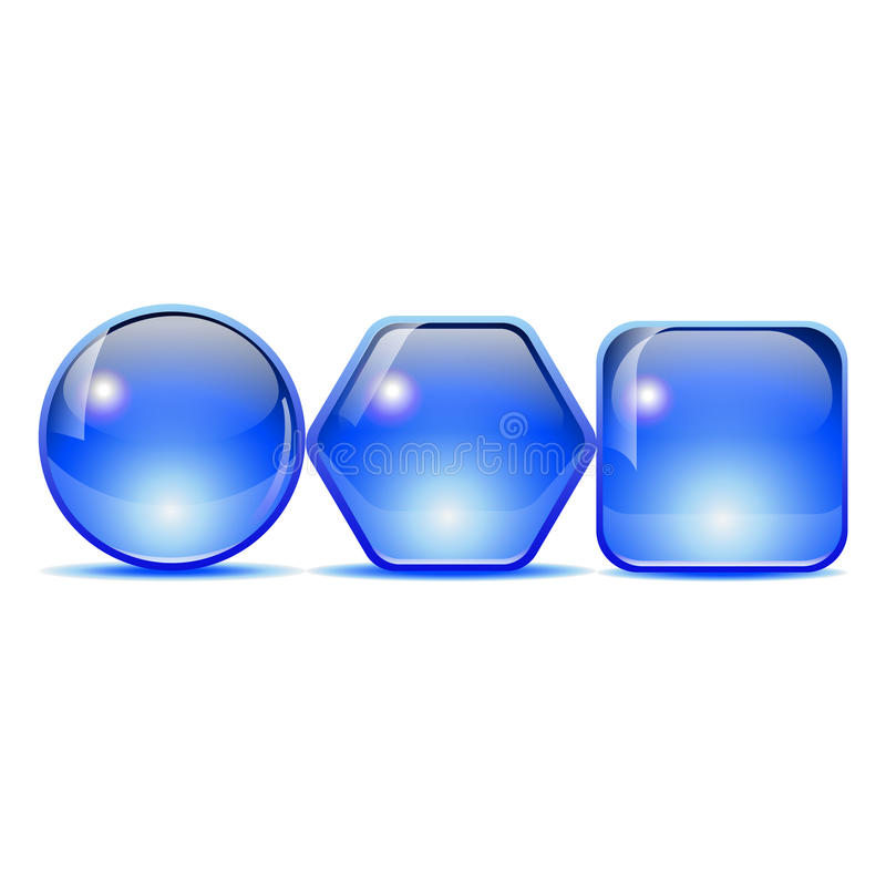 Bouton bleu image stock