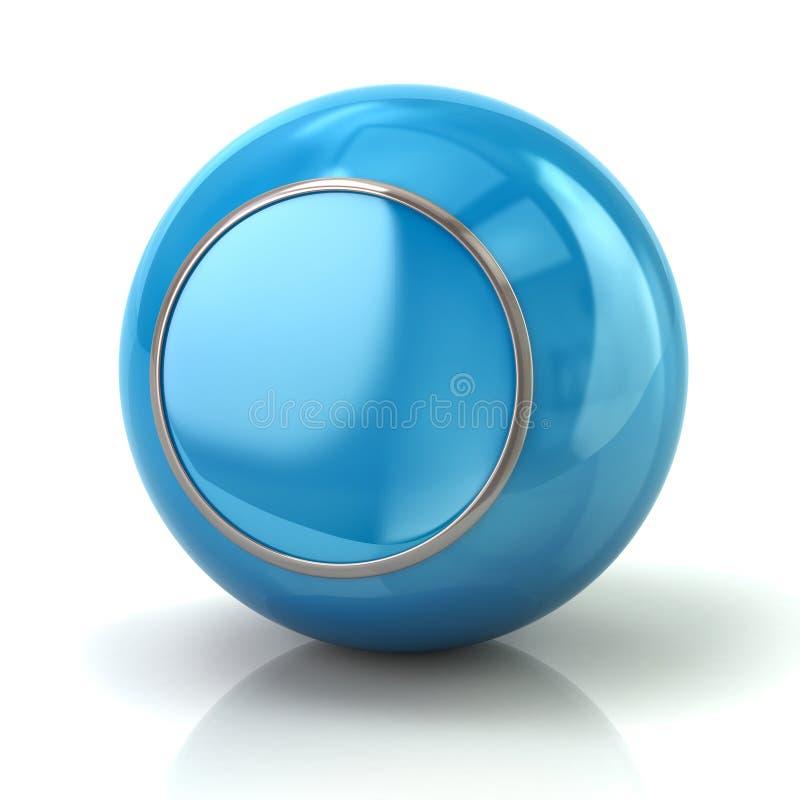 Bouton bleu avec l'illustration du borde 3d en métal illustration de vecteur