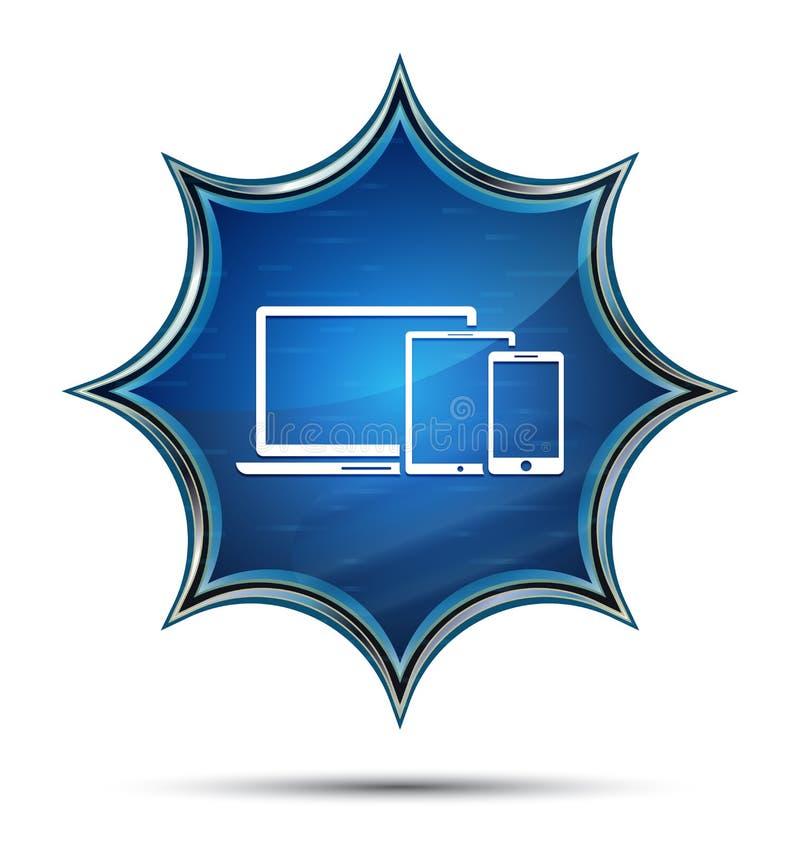 Bouton bleu de dispositifs de Digital de rayon de soleil vitreux magique futé d'icône illustration de vecteur