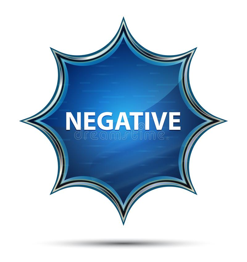Bouton bleu de rayon de soleil vitreux magique négatif illustration stock