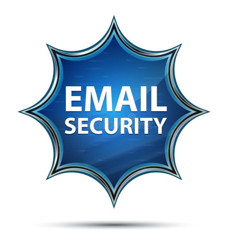 Bouton bleu de rayon de soleil vitreux magique de sécurité d'email illustration de vecteur