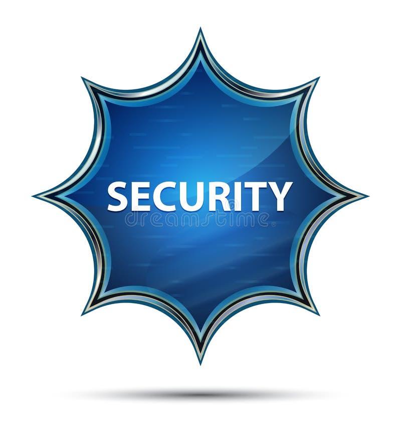 Bouton bleu de rayon de soleil vitreux magique de sécurité illustration de vecteur