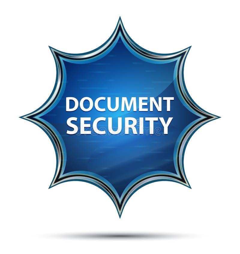 Bouton bleu de rayon de soleil vitreux magique de sécurité de document illustration de vecteur