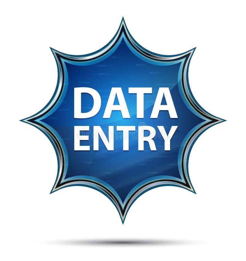Bouton bleu de rayon de soleil vitreux magique de saisie de données illustration libre de droits