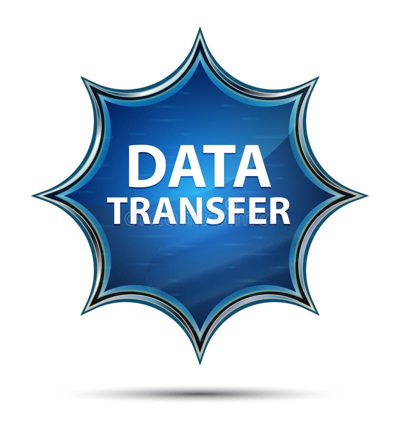 Bouton bleu de rayon de soleil vitreux magique de transfert des données illustration libre de droits