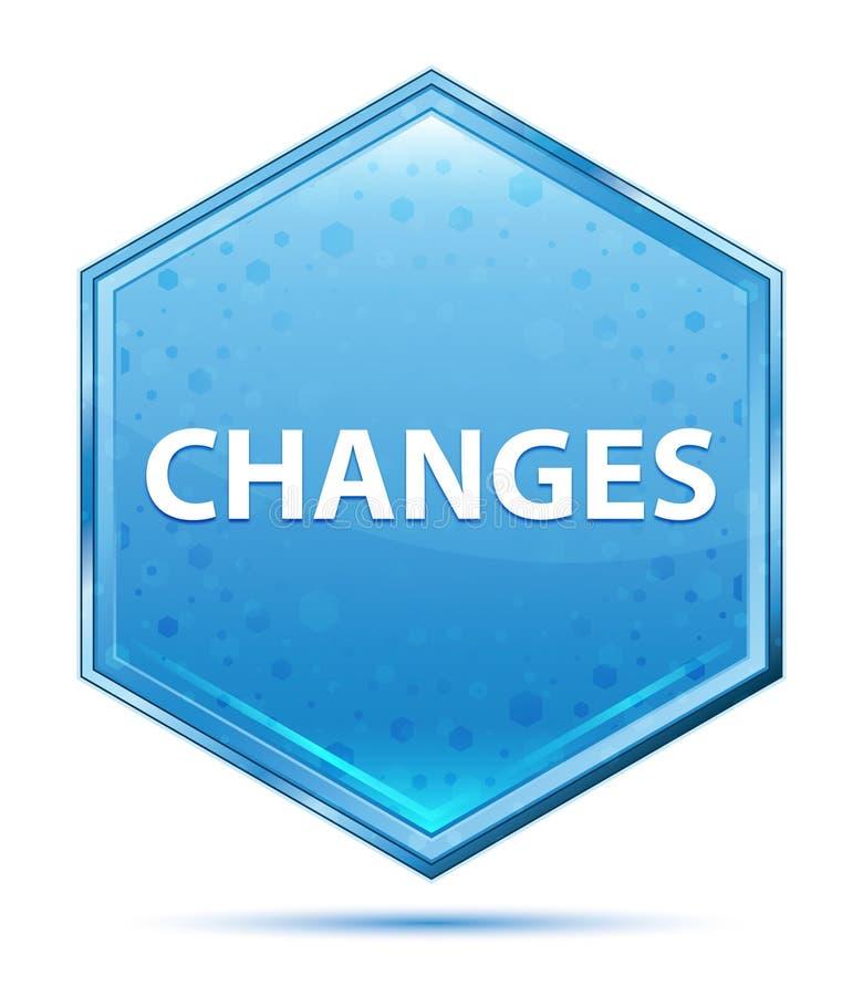 Bouton bleu en cristal d'hexagone de changements illustration libre de droits