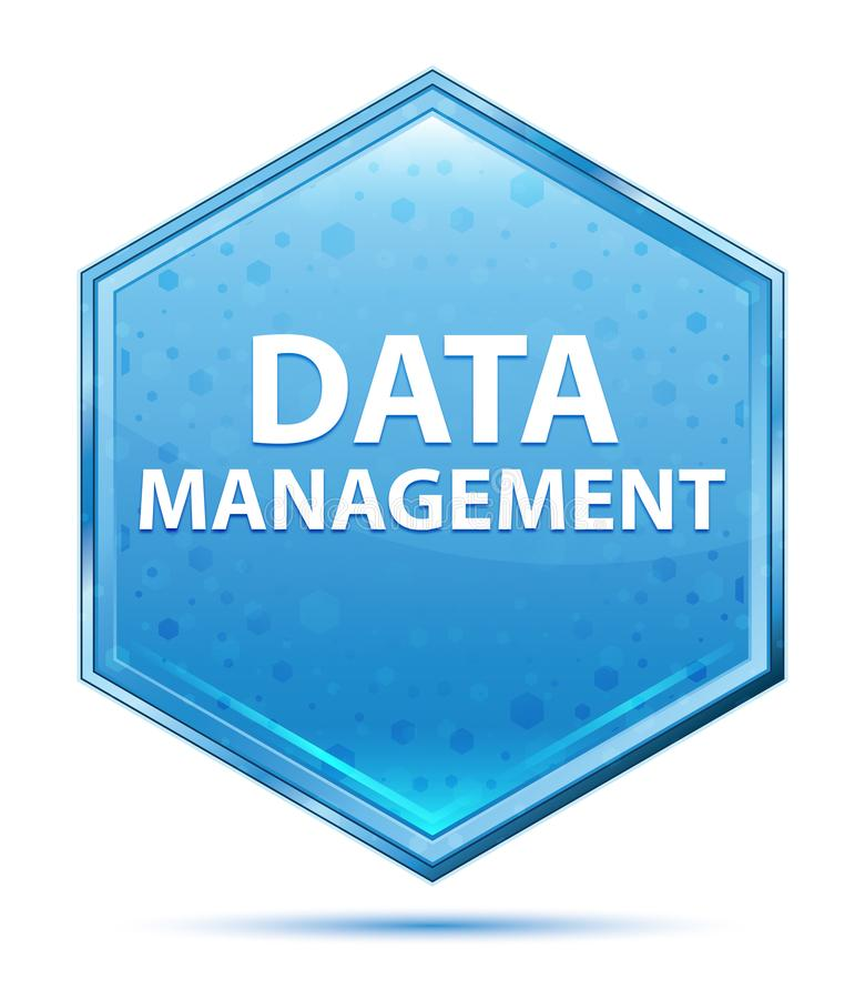 Bouton bleu en cristal d'hexagone de gestion des données photo libre de droits
