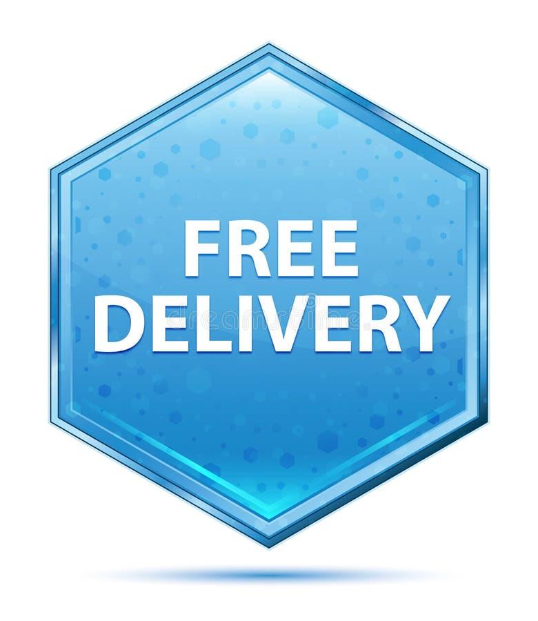 Bouton bleu en cristal d'hexagone de la livraison libre illustration libre de droits