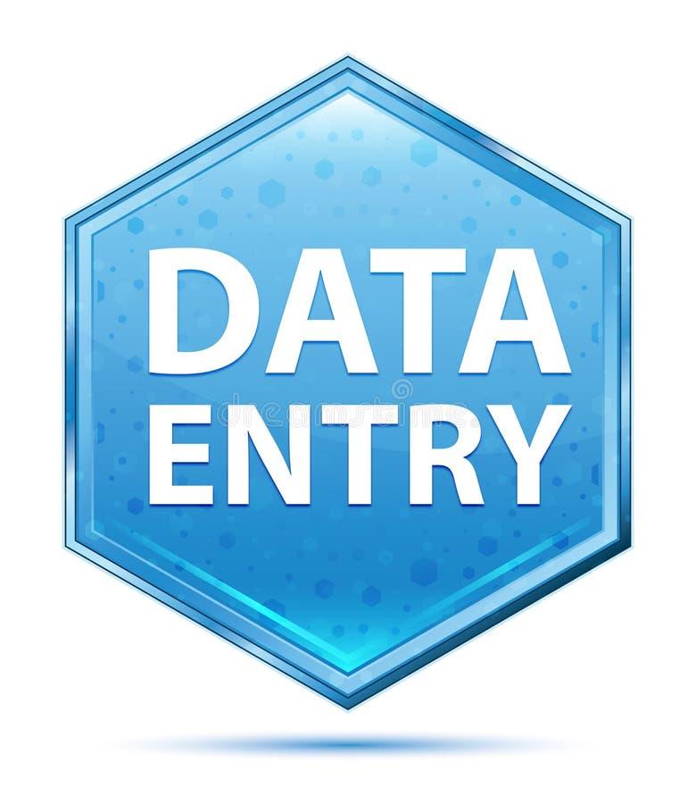 Bouton bleu en cristal d'hexagone de saisie de données illustration libre de droits