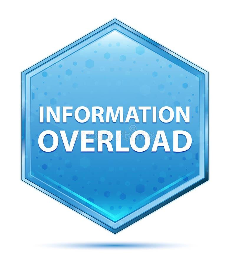 Bouton bleu en cristal d'hexagone de surcharge d'information illustration stock