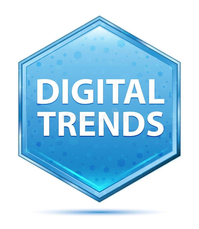 Bouton bleu en cristal d'hexagone de tendances de Digital illustration de vecteur