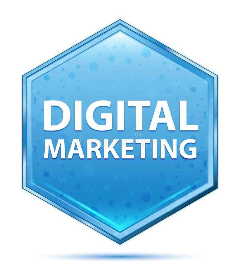 Bouton bleu en cristal d'hexagone de vente de Digital illustration libre de droits