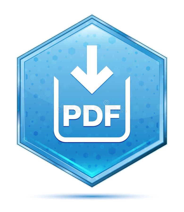Bouton bleu en cristal d'hexagone d'icône de téléchargement de document de pdf illustration libre de droits