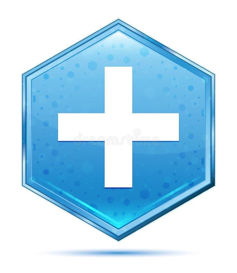 Bouton bleu en cristal d'hexagone d'icône plus illustration de vecteur