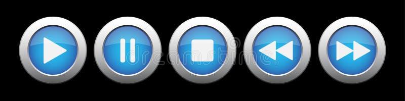 Bouton bleu en métal avec des boutons de contrôle de musique illustration de vecteur